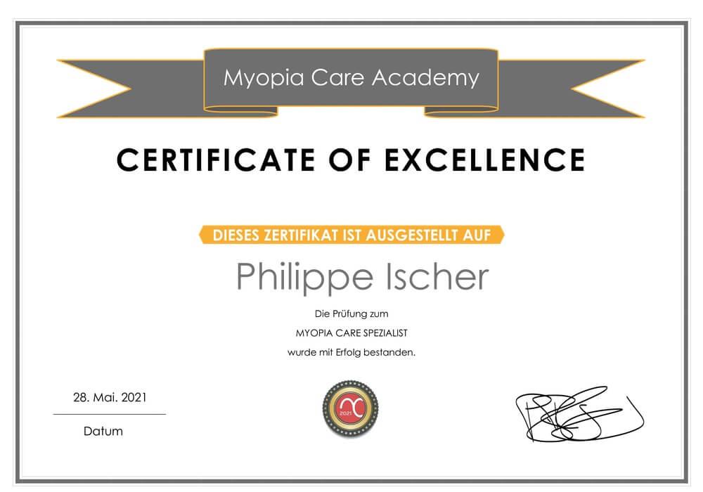 MiYOSMART Zertifikat Philippe Ischer
